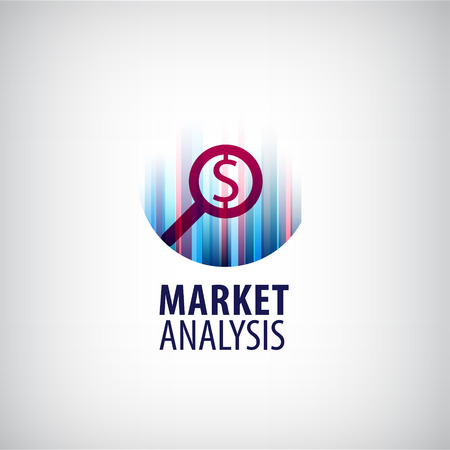 analisys: Vector market analysis logo, icon, market research logo, business, money success logo, data analisys