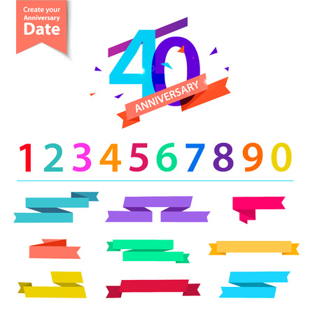 25: Vector set of anniversary numbers design. Create your own icons, compositions with ribbons, dates and sunbursts . Colorful retro collection Illustration