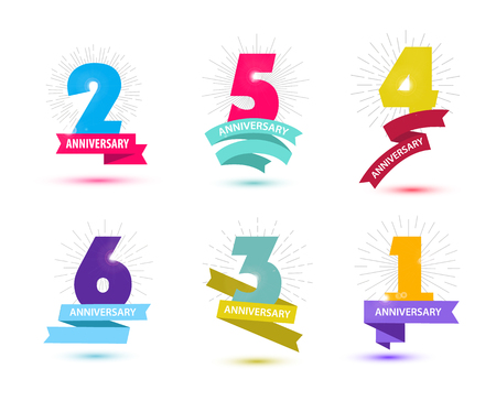 happy anniversary: Vector set of anniversary numbers design. 1, 2, 3, 4, 5, 6 icons, compositions with ribbons. Colorful, transparent with shadows on white background isolated