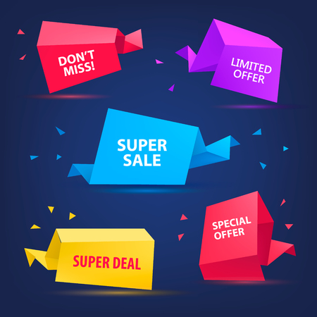 sale icons: Vector set of colorful sale banners, bubbles, 3d paper origami icons. Super Sale paper banner. Sale background. Sale tag. Sale poster. Sale vector. Super Sale and special offer. Illustration