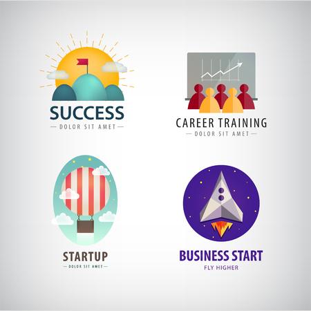 Vector conjunto de inicio de negocios logotipos, logo de formación de carrera, corporativos, logotipos de éxito empresarial. Rocket, globo aerostático, meta, objetivo, logro logo