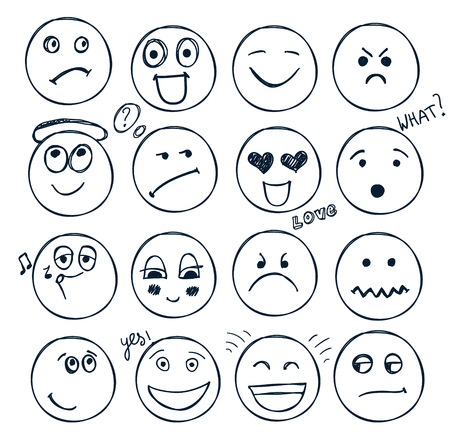 vector conjunto de caras dibujadas a mano, estados de ánimo aislado. Garabato, colección
