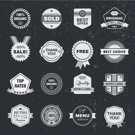 Vector ontwerp sjabloon set, collectie voor het maken van badge, postzegel. Hipster frames linten, pijl designelementen.