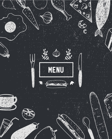 black board: Menu poster, cover with hand drawn food. Food poster, card. Black and white. Restaurant, cafe menu template