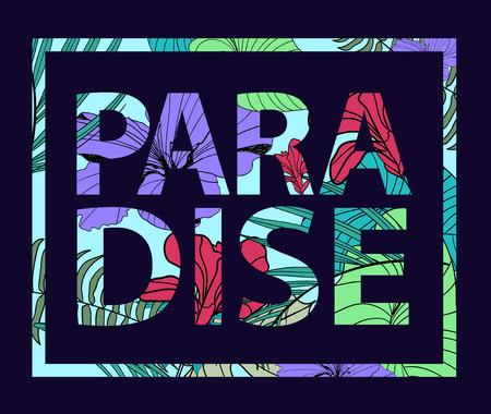 slogan: paraíso vector de impresión planta tropical. Camiseta lema, tarjeta, cartel, pancarta