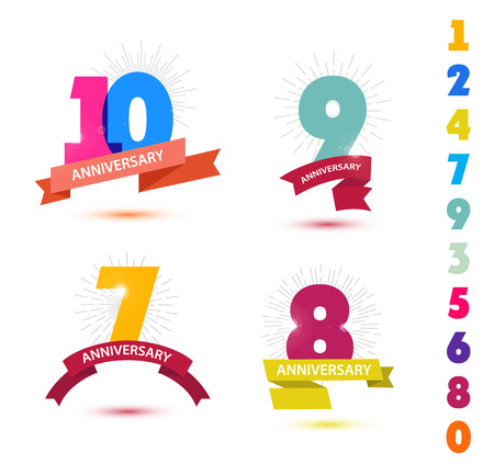 7 9 years: Vector set of anniversary numbers design. 10, 9, 7, 8 icons, compositions with ribbons. Colorful with shadows on white background isolated