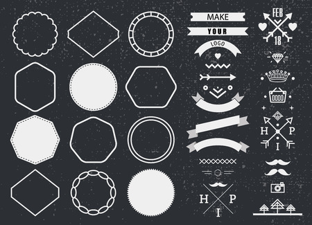 stamp collection: Vector design template set, collection for making badge, stamp. Hipster frames ribbons, arrows design elements.