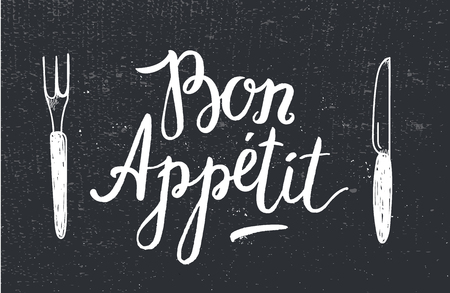 appetite: Vector Bon Appetit poster with fork and knife on black textured background. Card, cafe, restaurant poster, menu cover. Black and white, chalkboard