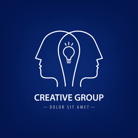 group network: Vector abstract two people with light bulb. Vector logo design. Concept for social network, team work, partnership, friends, business cooperation, coworking, creative team, group logo