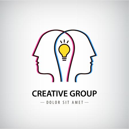 Vector abstractas dos personas con bombilla. diseño del logotipo del vector. Concepto de red social, trabajo en equipo, sociedad, amigos, la cooperación empresarial, el coworking, equipo creativo, logotipo del grupo
