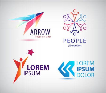 Vector set of abstract logo design, arrow logo, man, winner logo, people group logo, team family logo. Business identity template 矢量图像