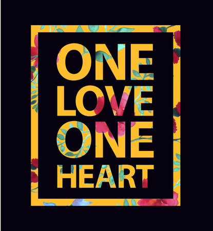ne: Tropical print love slogan ne love one heart uote for t-shirt and other uses Illustration