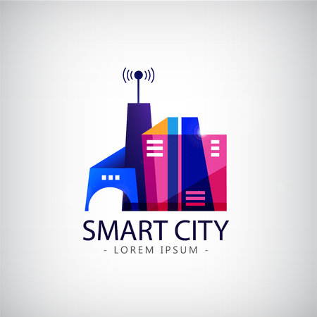 sharing: Vector smart city, real estate logo. business smart city concept .business communication.city life.