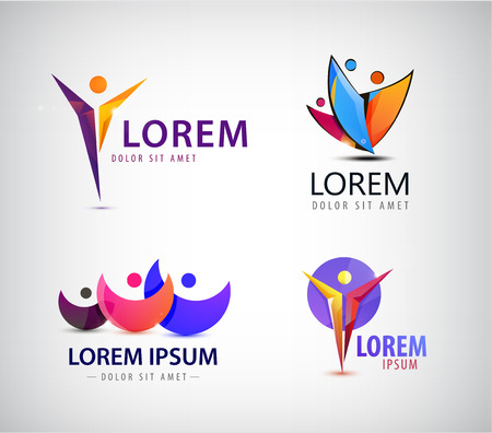 Vector set of man logo, human logo leadership logos, icons, illustrations. Business, sport logo family concept.