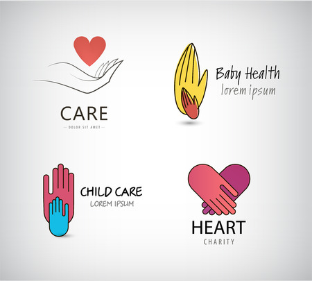 child care: Vector set of hand logos, care logos, charity logos. Hand holding heart, kids help, child care logos, small and big hand