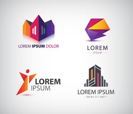 Vector set di vari loghi. Riassunto logo, logo geometrico, la costruzione di logo 3D. Identità