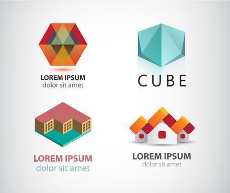 art logo: Vector set of various logos. Abstract logo, geometrical logo, building logo 3d. Identity