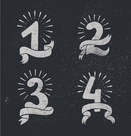 3 4: Vector set of anniversary numbers design. 1, 2, 3, 4 icons, compositions with ribbons. Black and white, hipster modern style, retro. Blackboard