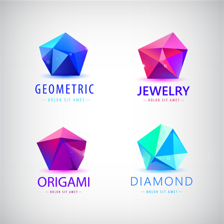 facet: trendy flat design facet crystal gem shape  element. 3d shiny jewelry modern