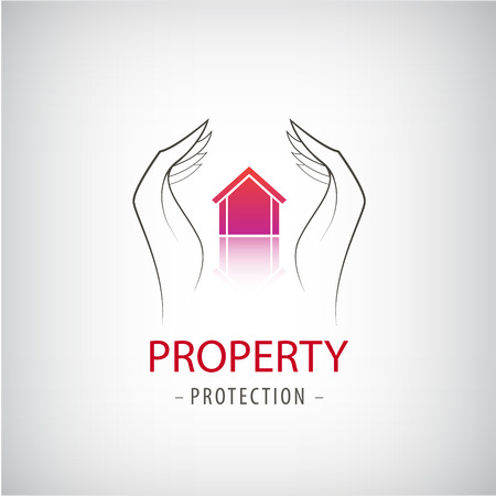 guard house: Home security business symbol. Unique icon concept for insurance company or guard company. Vector property protection  , house guard, security  . Hands holding house illustration
