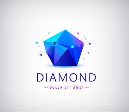 trendy flat design facet crystal gem shape element. 3d shiny jewelry modern
