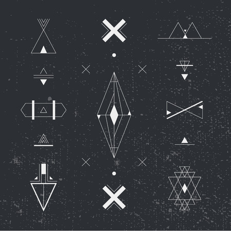 occultism: Set of geometric shapes. Trendy hipster background and  . occultism symbols collection. Vector abstract shapes, Illustration