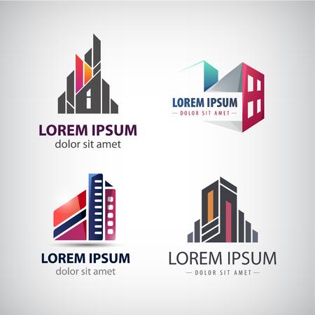Insieme vettoriale di colorato, ufficio moderno, edifici aziendali, grattacieli, icone isolato. Identità