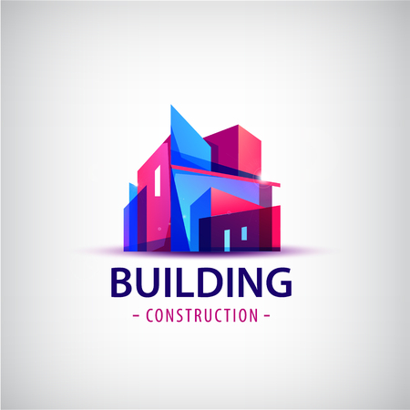 building structure: Vector abstract building colorful  , icon isolated. Transparent geometric structure sign, architecture  , sign