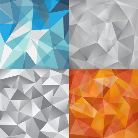 grey backgrounds: Vector set of faceted abstract crystal backgrounds grey, blue, orange. triangular style. vector illustration graphic design background template. geometric.