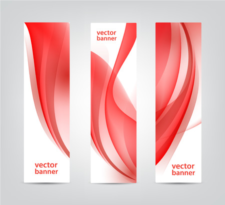 wavy fabric: set of vector abstract wavy red banners, vertical. Wavy fabric, silk background. Use for advertising, web, etc.