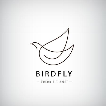 Vector lijn vogel, duif silhouet, vliegende abstracte, pictogram geïsoleerd. Stock Illustratie