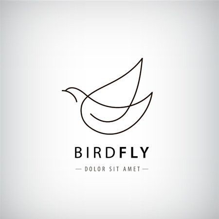 Vector line bird  , pigeon silhouette, flying abstract  , icon isolated. Illustration