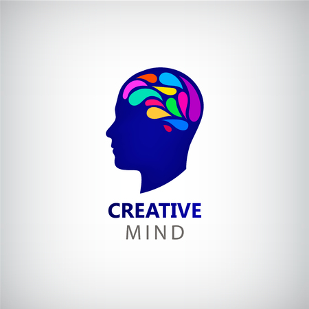 creativity symbol: Vector man face silhouette with colorful brain. Abstract brainstorming creative sign or symbol. Creativity, generating ideas, minds flow, thinking, imagination, inspiration concept.