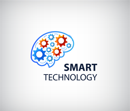 high technology: Vector logo icon with brain and gear cogs. Design concept for business solutions, high technology, development, invention and innovation, creativity, scientific themes, planning