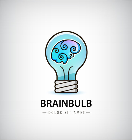 creativity symbol: Vector bulb with brain inside  . Abstract brainstorming creative sign or symbol. Creativity, generating ideas, minds flow, thinking, imagination, inspiration concept.