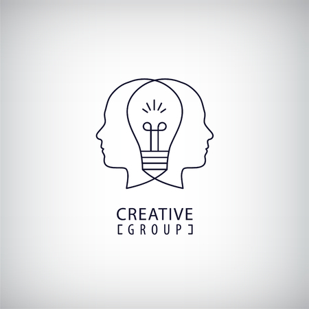 brain illustration: Vector creative mind  , creative group  , two heads and light bulb between illustration. Thinking, creating new ideas concept. Outline