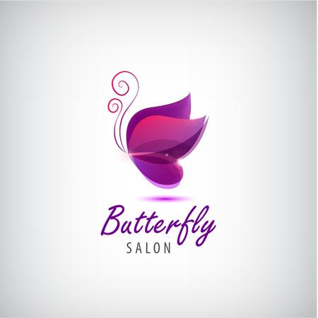 Vettore farfalla. salone della stazione termale, salone di bellezza, identità astratta