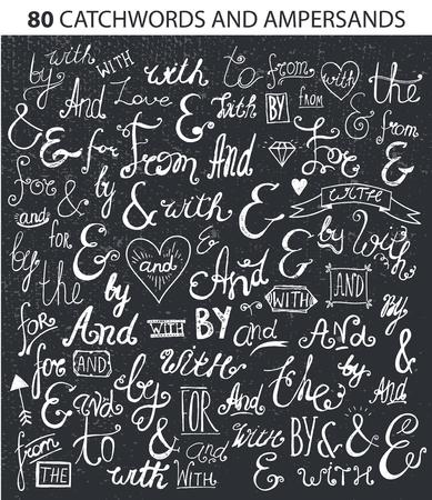 sketched shapes: Vintage Style Hand Lettered Ampersands and Catchwords for   Label Designs. Black and white, blackboard Illustration