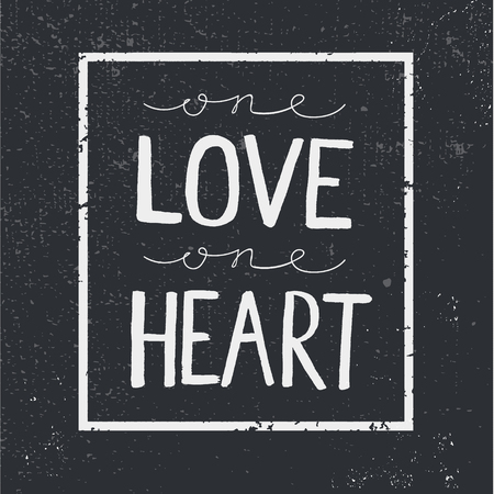 Vector liefde citaat, lettering op schoolbord achtergrond. Vierkante frame. Een liefde een hart