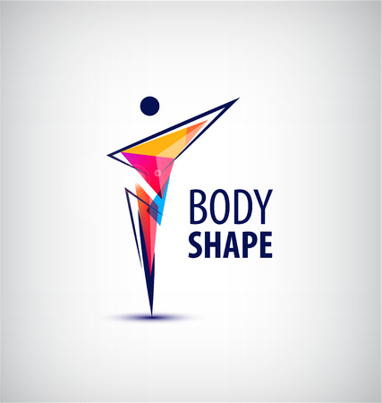 body shape: Vector man  , human body  , faceted geometric stylized human  .