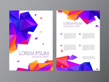 framework: vector flyer, orange and purple brochure abstract design 2 sides, background, cover. Modern crystal, geometric, faceted