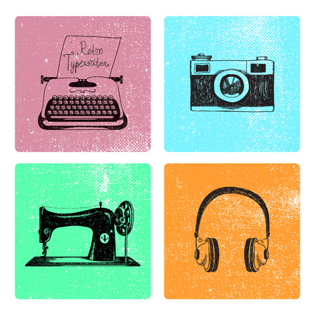 classic authors: Vector set of hand drawn retro vintage cards with objects. Typewriter, camera, sewing machine, headphones illustration