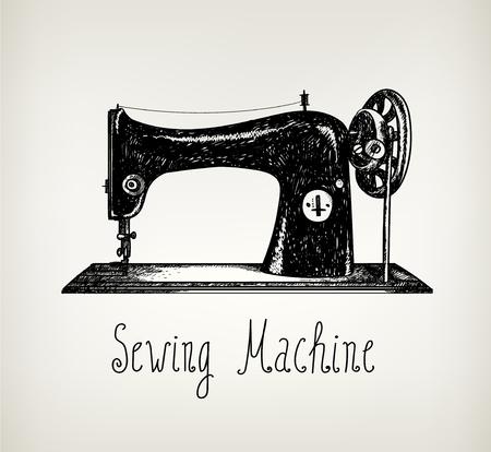 máquina de coser: la mano del vector retro dibujado, cosecha ilustración máquina de coser. Utilizar para las tarjetas, carteles, portadas, publicidad, diseño gráfico. Pizarra