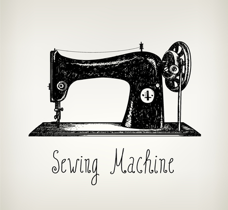 machines: Vector hand drawn retro, vintage sewing machine illustration. Use for cards, posters, covers, ad, graphic design. Blackboard