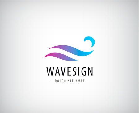 water wave: Vector abstract colorful gradient wave  , splash  , water abstract  , icon isolated. Identity, sign for company, product