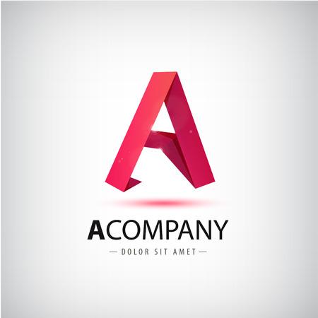 website design: Vector a red letter origami Illustration