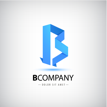 Vector b blue letter origami logo, 3d icon for company. Use for identity, ad, alphabet