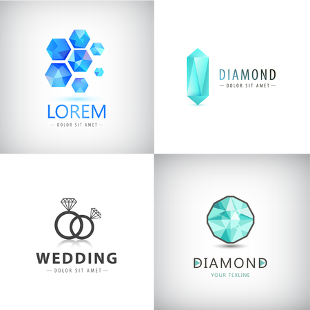 Vector set of jewelery logos, diamond illustration, crystal icons, wedding rings logo
