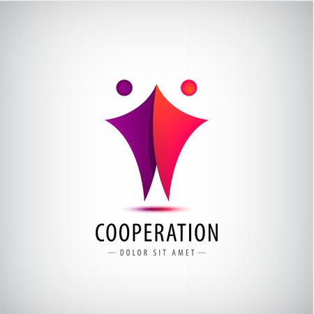 Vector logo 2 hommes, icône équipe, signe de coopération. People silhouettes identité, logotype partenariat