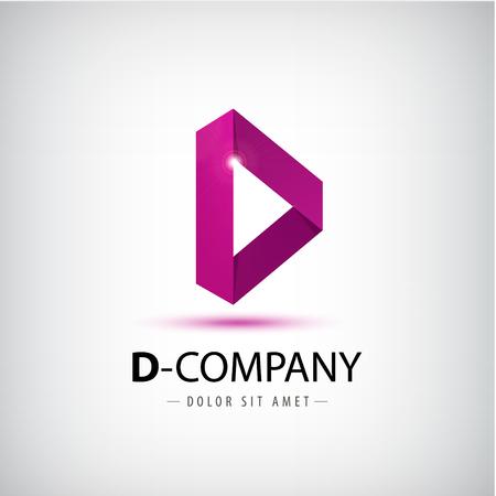 font design: Letter D logo. Alphabet logotype vector design. Origami alphabet sign Illustration